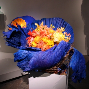 Dale Chihuly, Ultramarine Stemmed Form with Orange - vase & flower arrangement