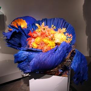 Dale Chihuly, Ultramarine Stemmed Form with Orange - vase & flower arrangement