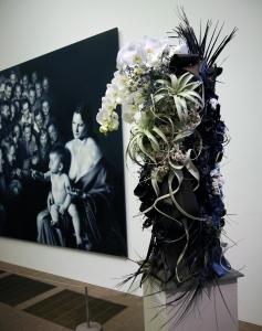 Gottfried Helnwein, Epiphany II - painting & flower arrangement