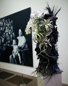 Gottfried Helnwein, Epiphany II - painting & flower arrangement