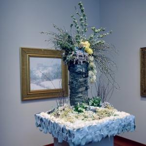 Willard Leroy Metcalf, Winter's Festival - painting & floral arrangement