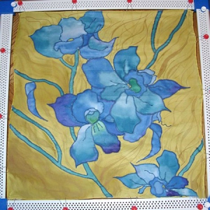 Silk Scarf with Irises