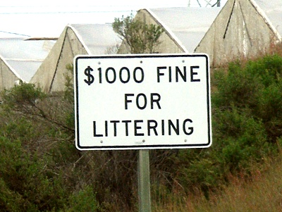 1000 dollar fine for littering sign