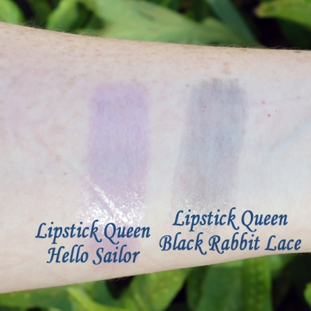 Lipstick Queen Black Lace Rabbit and Hello Sailor swatches