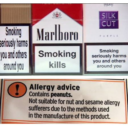 Cigarettes and Peanuts Warning