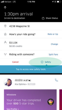Uber Safety Feature