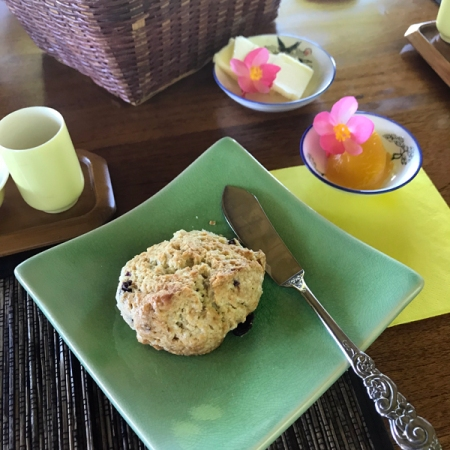 Scone and passion fruit curd
