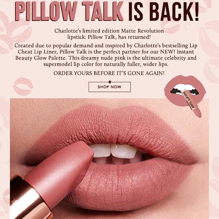 Charlotte Tilbury Pillow Talk Lipstick Ad