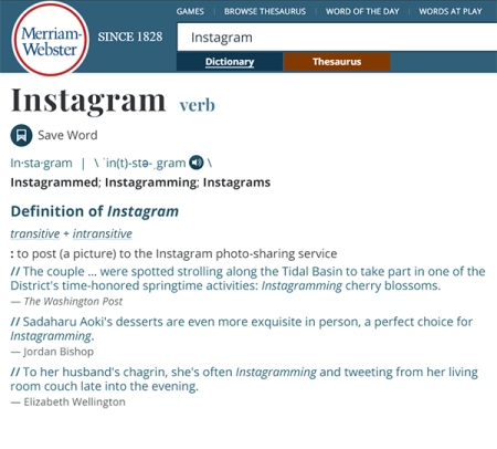 Instagram as a verb